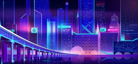 Future metropolis night downtown with highway bridge over river, illuminating neon light, futuristic architecture skyscrapers buildings on shore cartoon vector illustration. City nightlife background Illustration