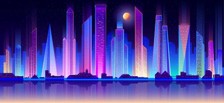 Modern metropolis night skyline flat vector background. Glowing neon light, skyscrapers towers, cottage houses, commercial property buildings on seashore, city bay calm water reflections illustration