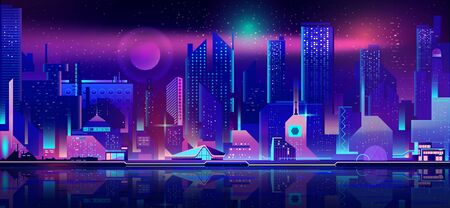 Modern metropolis night seafront cartoon vector. Futuristic architecture skyscrapers reflecting in bay calm water, city building illuminating in darkness, downtown business real estate illustration