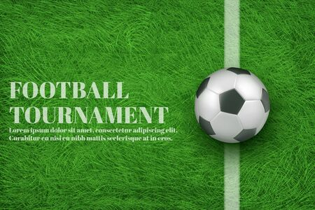 Football teams competition, sport clubs tournament 3d realistic vector ad banner, promotion poster template with soccer ball lying on white line painted on football field lawn green grass illustration