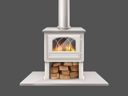 House fireplace with painted in white, metallic or marble stone firepit and chimney pipe, closed door with fireproof glass fire-box, flaming firewood inside isolated 3d realistic vector illustration Illustration