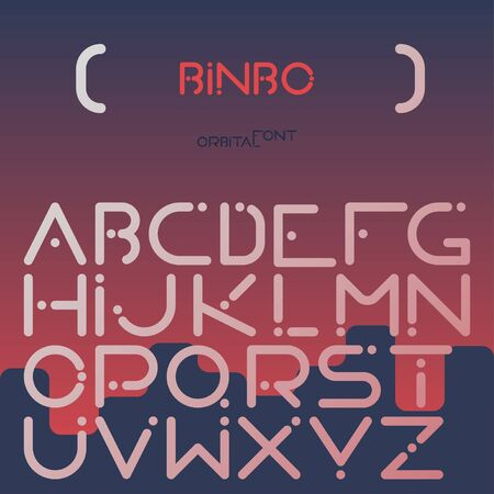 Orbital, futuristic ABC, English alphabet techno font with geometrical, simple latin symbols flat vector typeset on abstract gradient background. Retro digital, electronic, rounded letters collection