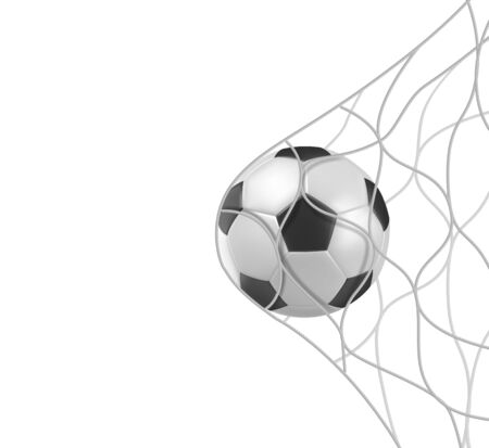 Soccer or football ball in goal net isolated on white background, sports accessory, equipment for playing game, championship or competition, design element. Realistic 3d vector illustration, clip art