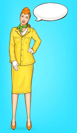 Pop art stewardess, flight attendant, air hostess girl in yellow uniform with cap, green handkerchief and speak cloud. Airline ad campaign, vector Illustration on blue background in retro comic style