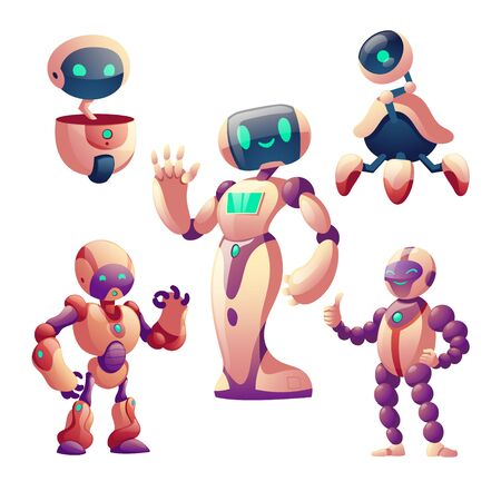 Robots set. Humanoid cyborgs with face, body, arms, legs, wheel isolated on white background, futuristic friendly artificial intelligence gesturing bots for game design, cartoon vector illustration