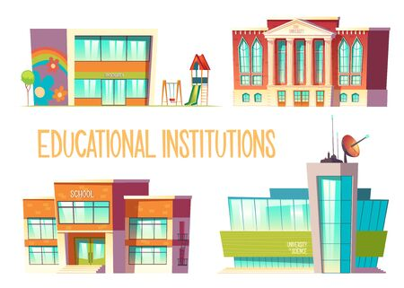 Educational institutions set, kindergarten, school, state and science university buildings front view isolated on white background, modern city establishment for studying. Cartoon vector illustration  イラスト・ベクター素材