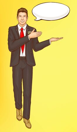 Pop art steward, flight attendant, air hostess man in strict black suit, white shirt, red tie and speak cloud invite and welcome passengers, vector Illustration on yellow background, retro comic style