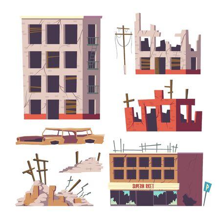 Maisons abandonnées en ruine et ensemble de voitures, vieux bâtiments, habitation délabrée cassée, immobilier de supermarché et carrosserie automobile, éléments de conception isolés sur fond blanc, illustration vectorielle de dessin animé