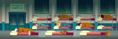 Nachtunterkunft für Obdachlose Cartoon-Vektorkonzept mit armen Bettlern, die auf Matratzen auf dem Boden liegen, Männer und Frauen, die auf Etagenbetten in Notunterkünften schlafen, temporäre Wohnillustration