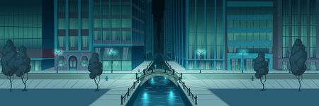 Night metropolis street illuminated with city lights, storefronts on skyscrapers building, two line road, arch bridge over river or water channel and sidewalk on embankment cartoon vector illustration Ilustração