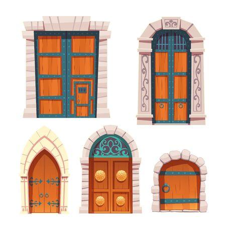 Ensemble de portes, entrées médiévales ou de conte de fées en bois et en pierre arquées et rectangulaires, éléments de design extérieur de palais ou de château avec décoration florale et forgée et boutons d'anneau Illustration vectorielle de dessin animé