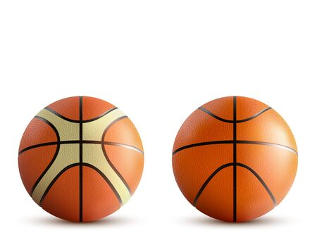 Basketball balls set isolated on white background, sports accessory, different design professional equipment for playing game, tournament, competition. Realistic 3d vector illustration, clip art, icon