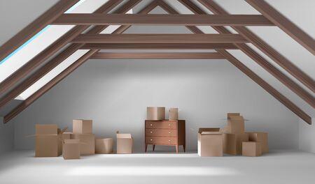 Intérieur du grenier de la maison, chambre mansardée avec boîtes en carton et commode en bois, place spacieuse vide sur le toit avec plafond à poutres, sol blanc, murs, large fenêtre, illustration vectorielle 3d réaliste Vecteurs