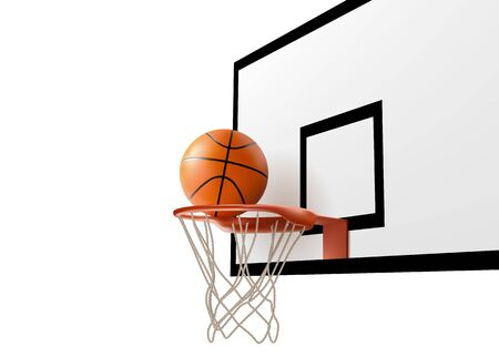 Basketball ball falling into ring hoop net at backboard isolated on white background, sport competition design template for banner, tournament poster, Realistic 3d vector illustration