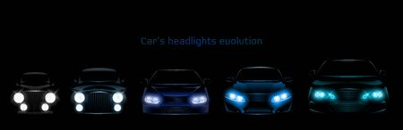 Car headlights evolution, glowing front view headlamps timeline from retro automobile to modern luxury xenon, laser or LED vehicle lamps isolated on black background realistic 3d vector illustration Banque d'images - 137864884