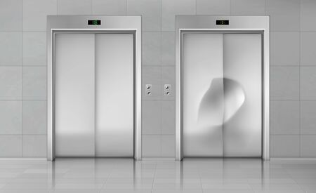 Elevator doors, close lift new and damaged cabin entrance with chrome metal buttons panel, empty building hallway interior, office vestibule, hotel or dwelling lobby Realistic 3d vector Illustration 写真素材 - 137864887