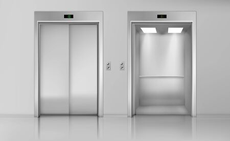 Lift doors, elevator close and open cabin with chrome metal buttons panel, empty building interior, office, hotel or dwelling transportation, lobby hallway indoors, Realistic 3d vector Illustration 写真素材 - 137864888