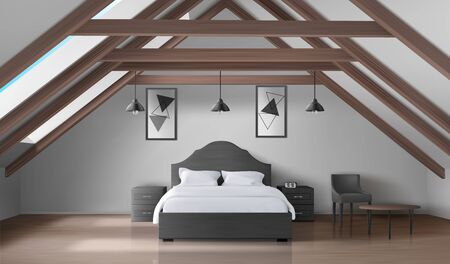 Bedroom on attic, empty interior modern home mansard or hotel apartment on roof with double king size bed, nightstands, lamps, table and chair luxury bedchamber design Realistic 3d vector illustration Ilustracja