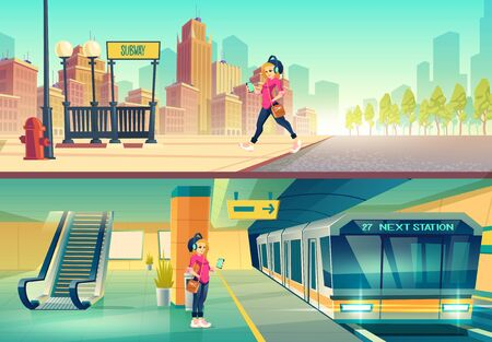 Woman at metro station. Relaxed girl listen music in headset going to subway entrance, stand on tube platform, city metropolitan ground and underground view with train, Cartoon vector illustration