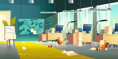 Dirty office interior, empty work place with scattered garbage, crumpled paper, plastic cups on floor, messy room with computers, document piles on desks, flip chart board. Cartoon vector illustration Illustration