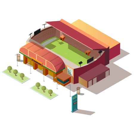 Soccer stadium isometric building with ticket office and sports timing billboard isolated on white background. City sport and recreation, urban infrastructure design element 3d vector illustration