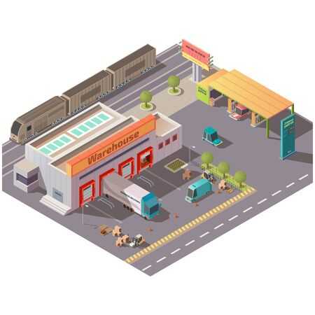 Isometric warehouse and petrol station, delivery company shipping service, logistics center with cargo trucks loading goods at parking gates, filling cars and train on railroad, 3d vector illustration