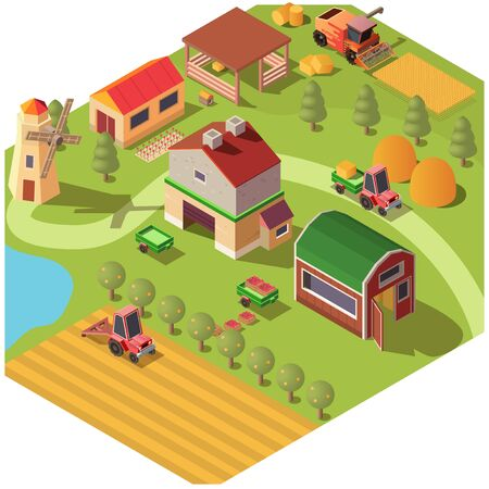 Isometric farm or modern ranch yard with outbuildings, wind mill, fruit garden and field of grain. Combine harvester threshing corn or wheat, plow soil, tractor transporting. 3d vector illustration