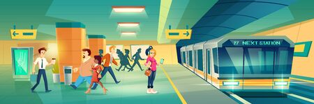 Woman at metro station. Relaxed girl listen music in headset going to subway entrance, stand on tube platform, city metropolitan underground view with train. Cartoon vector illustration 版權商用圖片 - 137864938