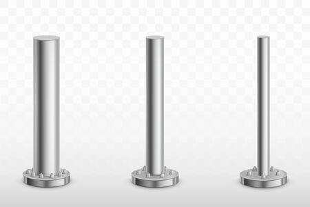Metal pole pillars set, steel pipes of different diameters bolted on round base isolated on transparent background. Cylinder footings for road sign, banner, billboard. Realistic 3d vector illustration Vector Illustratie