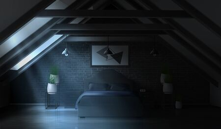 Night bedroom on attic, empty moonlight interior modern home mansard or hotel apartment on roof with brick wall, double king size bed, lamps, potted plants, luxury design Realistic vector illustration