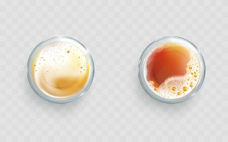 Light and dark beer, whiskey or cognac poured in glass beaker with foam and bubbles top view 3d realistic vector. Fresh and used for frying vegetable oil color difference demonstration illustration Ilustração