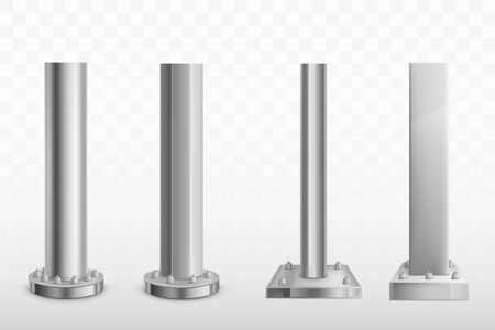 Different shape and form metallic pillars or columns screwed with bolts and screw-nut to massive round and square base 3d realistic vector set. Architectural, industrial construction support element