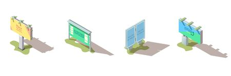 Outdoor advertising billboards, street banners and citylights with promo campaign ads sample text on posters, grass under footing and shadow isometric vector icons set isolated on white background Illustration
