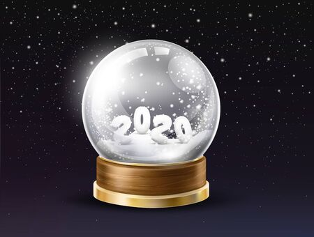 Shining, glass snow globe with 2020 year digits powdered by snow inside 3d realistic vector on black background with falling snowflakes. New Year and Christmas holiday gift or souvenir illustration