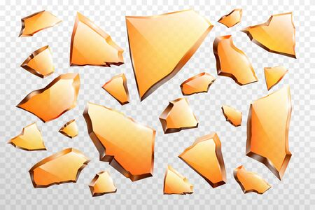 Broken on various form and different sizes, sharp pieces of brown, amber glass 3d realistic vector illustration set isolated on transparent background. Glossy, reflecting glass shards with torn sides