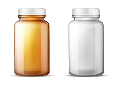 Empty, brown and transparent plastic or glass bottles with white screw lids 3d realistic vector mockup. Food product, medicines, pills or drugs packaging illustration set isolated on white background