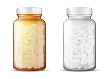 Transparent white, amber glass bottles with plastic lid full of medicines, vitamin, antibiotic, painkiller pills 3d realistic vector isolated on white background. Pharmaceutical goods packaging mockup Ilustracja