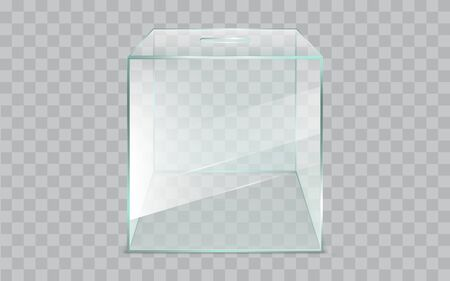 Empty, glass ballot box, square, sealed container with slot 3d realistic vector illustration isolated on transparent background. Democratic elections, fair and clear voting process technology element Stock fotó - 137865269