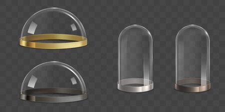 Glaskuppeln, Glasglocken mit goldenen, silbernen, bronzenen und metallischen Grenzstreifen auf dem unteren realistischen Vektorsatz einzeln auf transparentem Hintergrund. Juweliergeschäft, Museumsausstellung Sicherheitsabdeckungsillustration Vektorgrafik