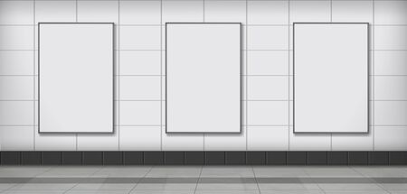 Three blank white ad vertical banners or posters hanging on tilled wall in subway station, public building corridor 3d realistic vector illustration. Indoor advertising, promoting campaign elements