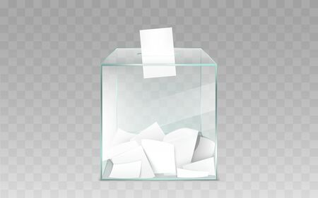 Square glass ballot box filled with blank white ballot paper sheets 3d realistic vector illustration isolated on transparent background. Democratic elections or confidential polling technology element Stok Fotoğraf - 137790047