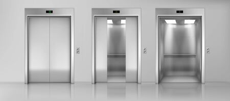 Ascensori moderni per passeggeri o merci, ascensori con porte chiuse, aperte e semichiuse, cabine metalliche, cifre degli indicatori di piano e pavimenti lucidi nel corridoio vuoto illustrazione realistica di vettore 3d