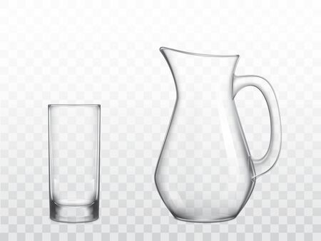Empty, classic jug with handle and highball drinking glass 3d realistic vector objects isolated on transparent background. Home, restaurant glossy, clear glassware for water and drinks illustration Stok Fotoğraf - 137792266