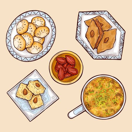 Various exotic, oriental sweets cartoon vector set with umm ali, basbousa, kahk, baklava and dried date fruits on different shape, blue porcelain plates with traditional ethnic ornaments illustration