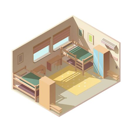 Large family childrens bedroom, hostel hotel room interior with two bunk beds, wardrobes, work desks and paintings or photo frames on wall isolated, low poly isometric projection vector illustration