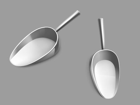 Metallic or stainless steel scoop with glossy chrome handle side, top view 3d realistic vector isolated on grey background. Kitchen utensil, grocery store tool for bulk goods filling illustration 写真素材 - 137802676