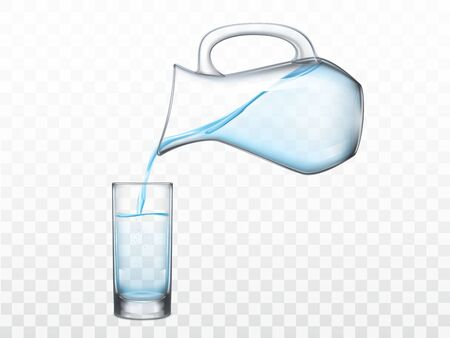 Pouring crystal clear freshwater from glass jug in highball drinking glass 3d realistic vector illustration isolated on transparent background. Refreshing, quenching thirst concept design element Stok Fotoğraf - 137803201