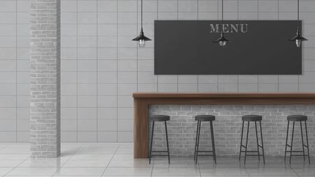 Bar, cafe, coffee shop or pub minimalistic, loft interior with stools standing in row near wooden counter desk, hanging vintage lamps, brick column, chalkboard menu, tilled wall and floor illustration