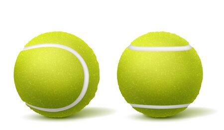 New, green and fluffy tennis balls top, side view 3d realistic vectors isolated on white background with shadows. Racket sport inventory illustration. Tennis tournament, competition ad design element