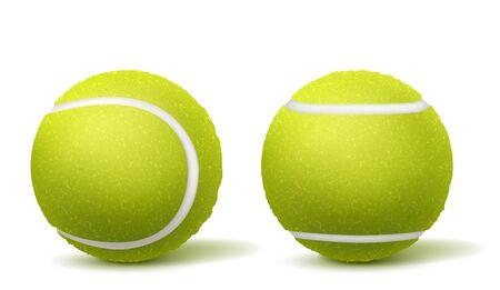 Nowe, zielone i puszyste piłki tenisowe góry, widok z boku 3d realistyczne wektory na białym tle z cieniami. Ilustracja inwentaryzacji sportu rakietowego. Turniej tenisowy, element projektu reklamy konkursowej Ilustracje wektorowe